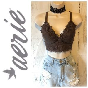 Aerie brown Ribbed Lace Bralette